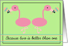 Pink Flamingos Twins Birth Announcement card
