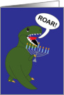 Hanukkah Tyrannosaurus Rex Dinosaur with Menorah card