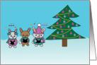 Christmas Caroling Bunny Rabbits with Christmas Tree card