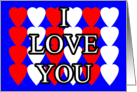I Love You with Heats Blue Background card
