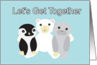 Let's Get Together for Dinner, Cute Cartoon Animals card