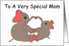 Mother and Baby Elephant Mother's Day card
