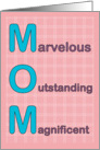 Marvelous Outstanding Magnificent Mom Mother's Day Card