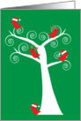 Christmas Red Birds in a White Tree card