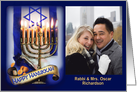 Messianic Hanukkah Menorah and Israeli Flag, Photo Card