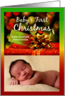 Baby's First Christmas, Red and Gold Gift Photo Card
