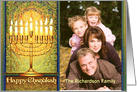 Messianic Chanukah Photo Card, Golden Menorah in Mosaic Window card