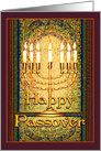 Messianic Happy Passover, Golden Menorah in Mosaic Window card