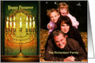 Messianic Happy Passover, Golden Menorah Photo Card