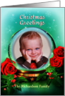 2013 Dated Christmas Snow Globe with Roses and Holly, Photo Card