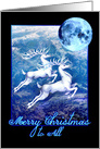 White Christmas Reindeer Flying Under a Blue Christmas Moon card