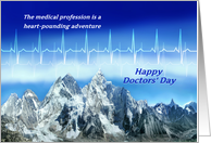 Happy Doctors' Day, Medical Heartbeat Pulse and Snowy Mountains card
