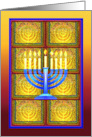 Messianic Chanukah, Menorah Light in Mosaic Window card