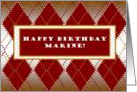 Happy Birthday Marine! Marine Corps Spirit Argyle card