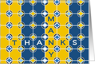 Many Thanks for Math Teacher! Blue & Gold Geometric Design card