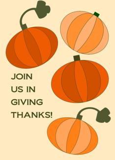 Thanksgiving Invitation- Playful Pumpkins Greeting Card