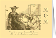 ESTRANGED MOM- humorous,captioned, Victorian pencil drawing. card