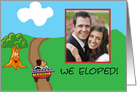 We Eloped photo card , Couple in car with ladder driving off card
