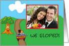 We Eloped photo card, Couple in car with ladder driving off card