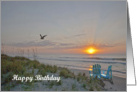 Huntington Beach State Park, SC sunrise on the beach Birthday card. card