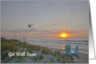 Huntington Beach State Park, SC sunrise on the beach get well card. card