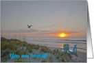A beach sunrise scene, invitation card