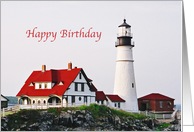 Lighthouse BIrthday Portland Head Maine Blank Card