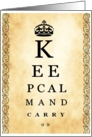 Keep Calm & Carry On Vintage Eye Chart card