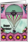 Happy Birthday Vintage Hot Air Balloon card
