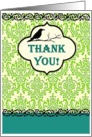 Thank You Blackbird Green & Teal Victorian Lace card