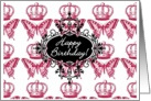 Happy Birthday Royal Crowned Butterflies card