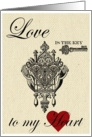 Love is the Key to My Heart Vintage Burlap card