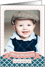 Christmas Photo Card - Dusty Pink Banner and Teal Pattern card