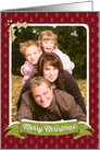 Christmas Photo Card - Christmas Trees and Holly Red Green Gold card