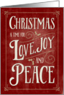 Christmas Card - Love Joy Peace - Red Gold card