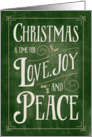 Christmas Card - Love Joy Peace - Green Gold card