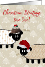 Funny Christmas Card - Two Sheep Wearing Hats card