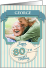Custom 80th Birthday Card - Add Your Own Name and Photo card