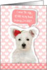 Valentine's Card - Cute Westie Puppy and Rose card