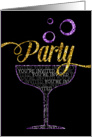 Party Invitation - Champagne Glass and Bubbles - Sparkle Effect card