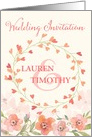 Wedding Invitation - Add Your Own Name - Peach Watercolor Flowers card