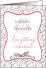 Wedding Invitation - Pink Watercolor Flowers and Pattern card