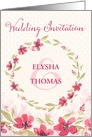 Wedding Invitation - Add Your Own Names - Pink Watercolor Flowers card