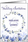 Wedding Invitation - Add Your Own Names - Blue Watercolor Flowers card