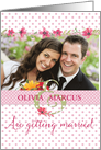 Wedding Invitation - Add Own Photo and Names - Pink Watercolor Flowers card