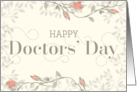 Happy Doctors' Day Card - Swirly Text and Flowers - Cream Peach card