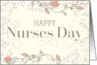 Happy Nurses' Day Card - Swirly Text and Flowers - Cream Peach card