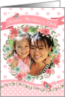 Mother's Day Photo Card - Add Own Photo - Peach Flowers and Polka Dots card