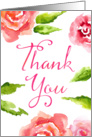 Thank You Card - Watercolor Roses and Leaves card