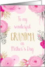 Mother's Day Card for Grandma - Pretty Pink Flowers and Gold Sparkle card